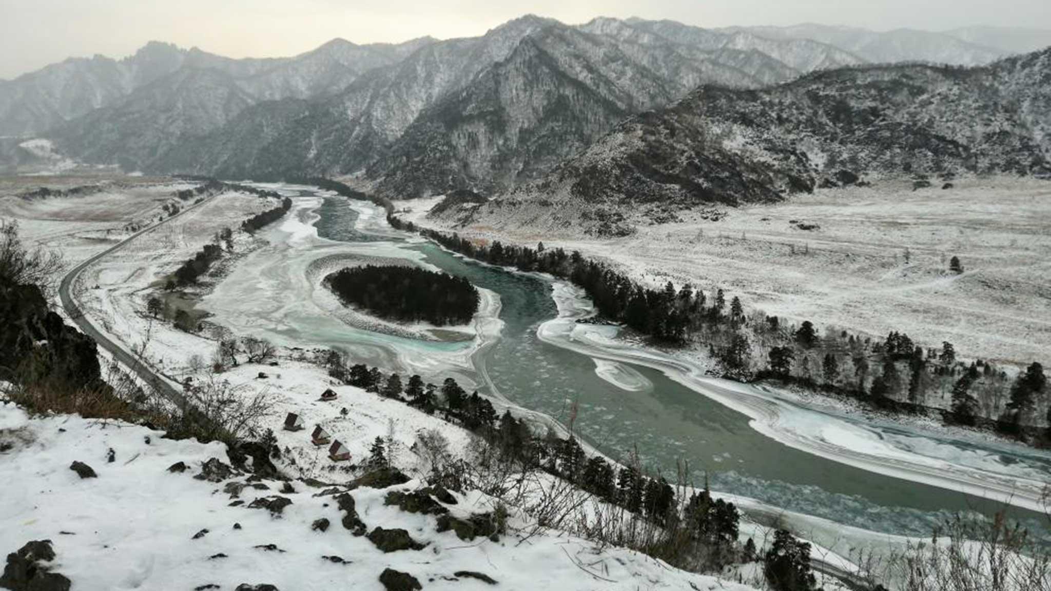 Катунь и Алтайские горы