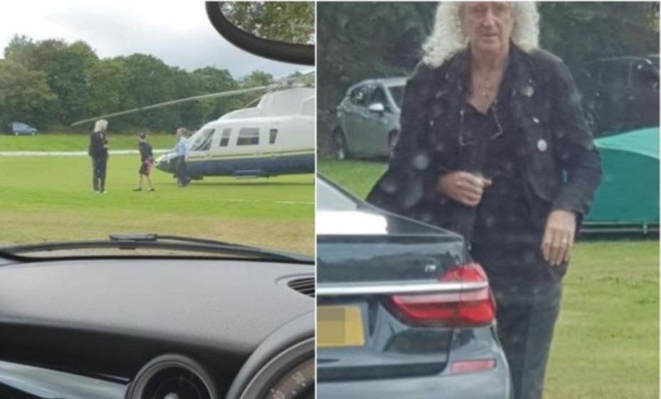 Гитарист Queen Брайан Мэй приземлился на вертолете на поле для крикета. Фото: Facebook Мик Дэвидсон